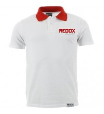 Polo REDOX blanc encolure rouge