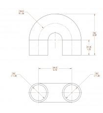 30mm Länge 32x32mm - 180° Bogen Silikon - REDOX