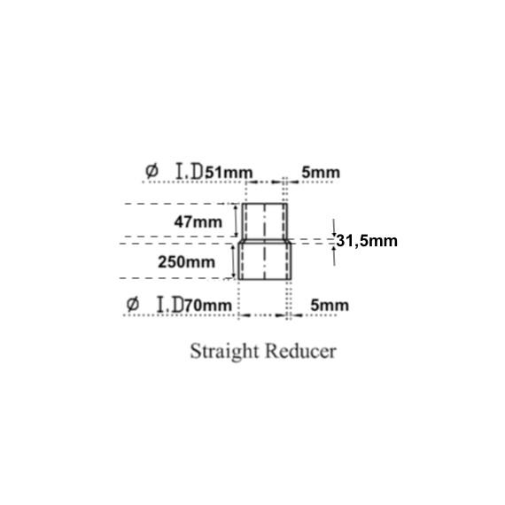 51-70mm Länge 330mm - Reducer Recht Silikon schwarz Feste Innenschicht Kohlenwasserstoff - REDOX