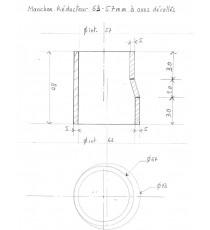 57-63mm - Réducteur droit dur mesure en silicone à axes décallés- REDOX